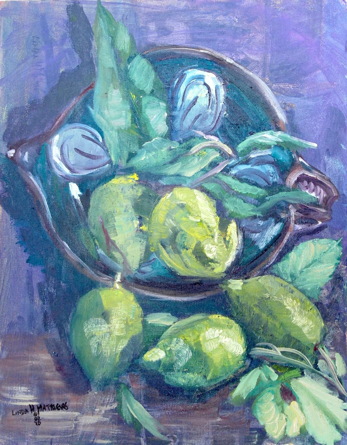 Linda H Matthews - Nature Mort -Des Citron et un Saladier - Oil